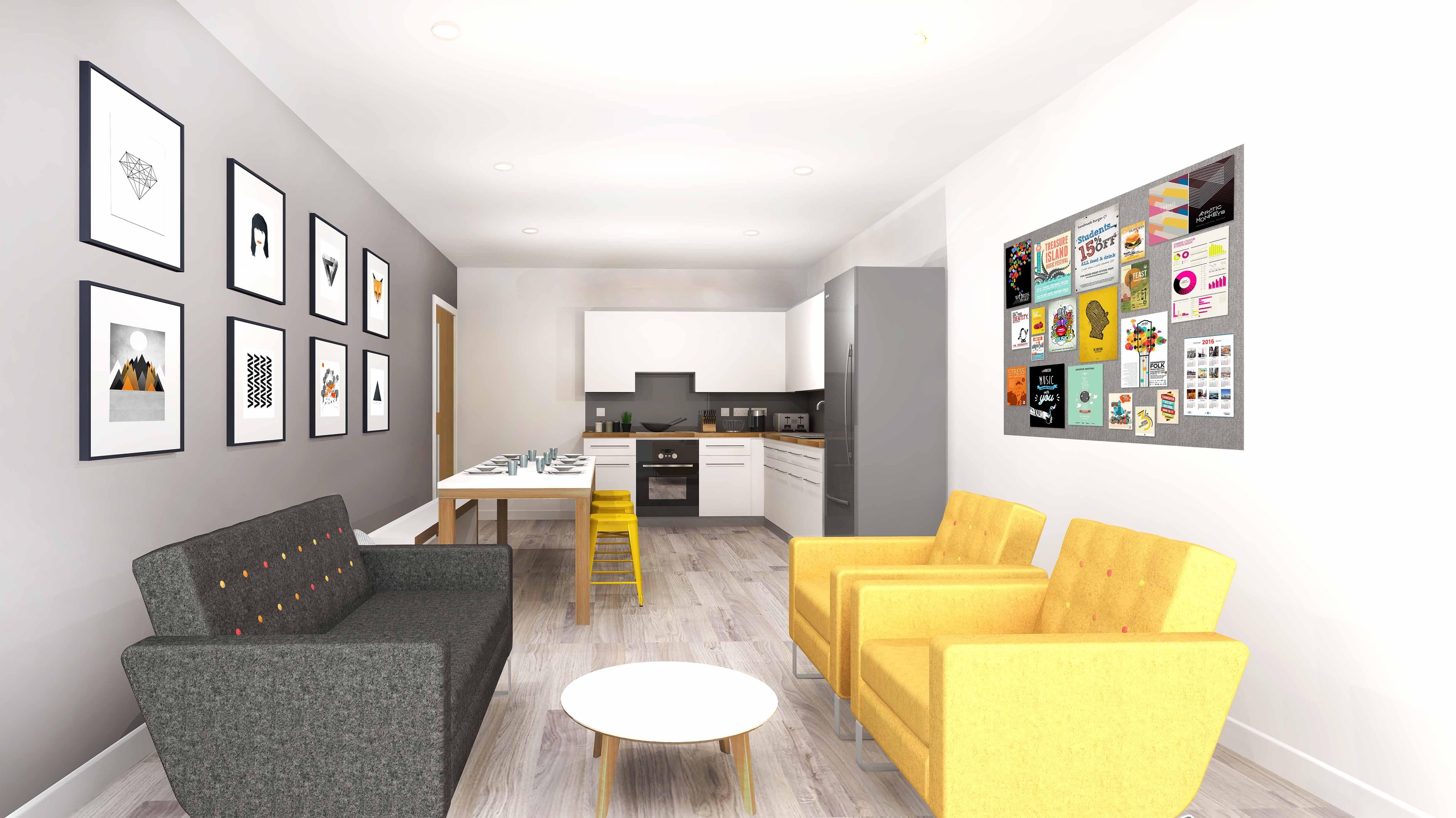 Bridge House Glasgow Shared Flat Living Area Unilodgers