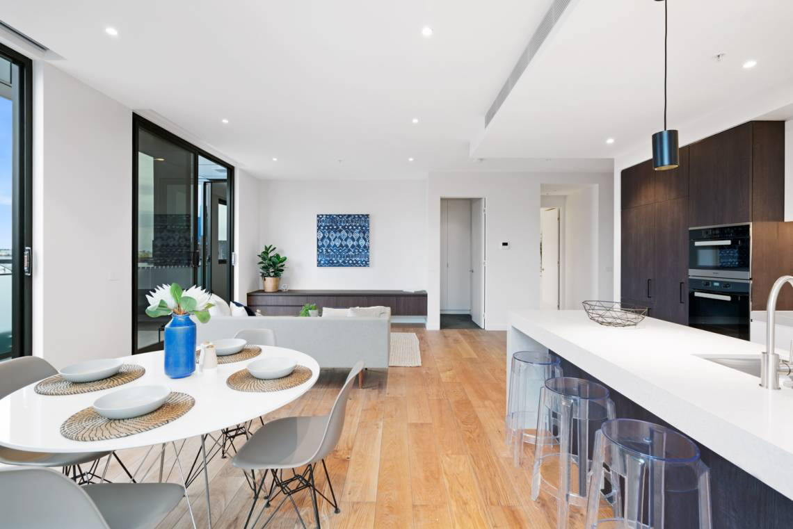 401-142-johnston-street-fitzroy-student-accommodation-Melbourne-Kitchen-With-Living-Area-Unilodgers