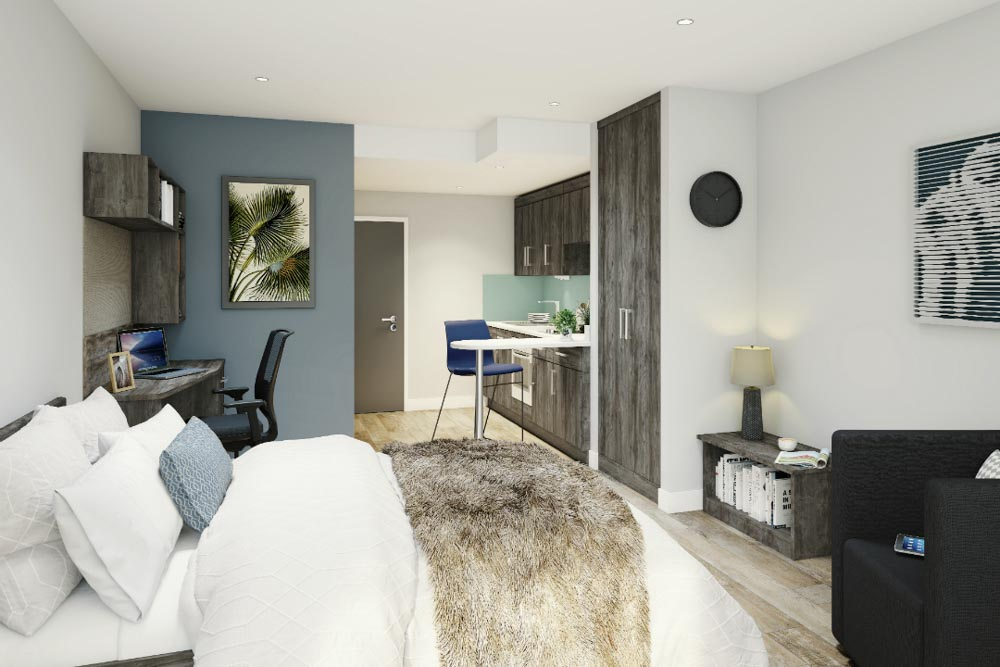 Crown-Place-Portsmouth-Bedroom-With-Kitchen-Unilodgers