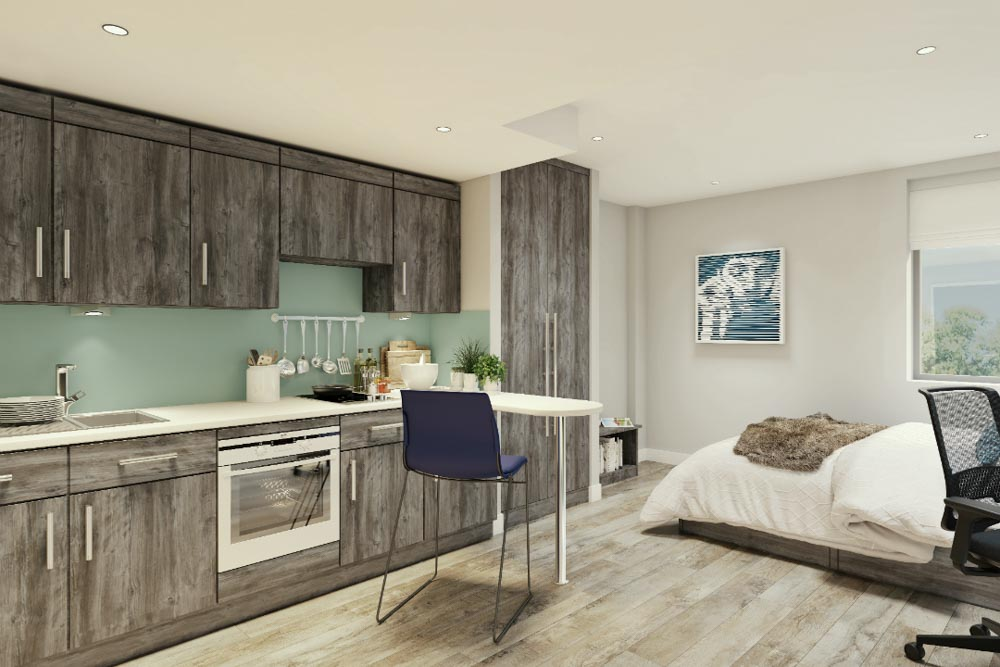 Crown-Place-Portsmouth-Kitchen-With-Breakfast-Bars-Unilodgers
