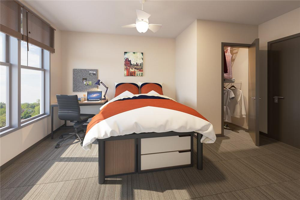 Maplewood-Apartments-Ithaca-NY-Bedroom-With-Study-Desk-Unilodgers