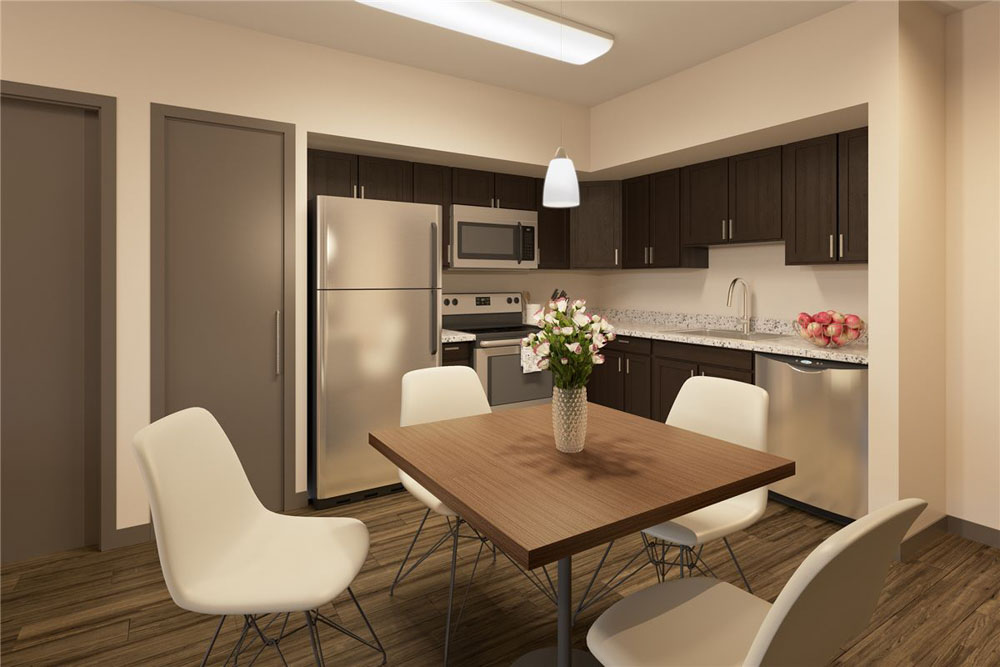Maplewood-Apartments-Ithaca-NY-Kitchen-With-Dining-Table-Unilodgers