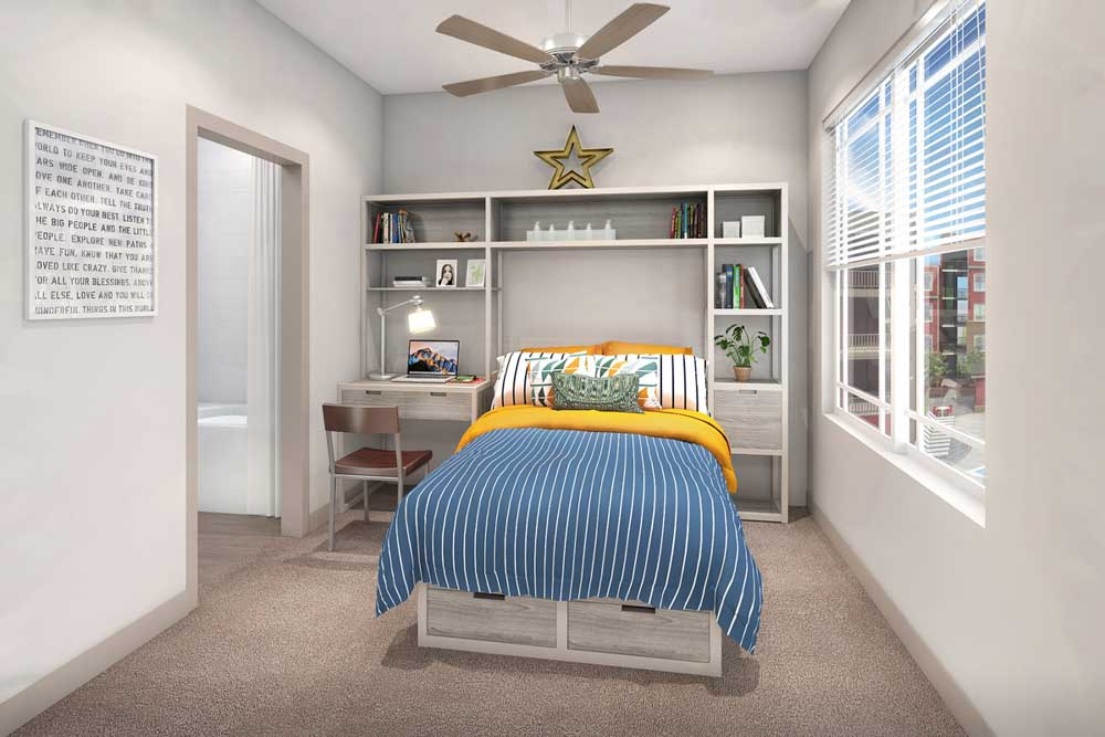 The-Avenue-Fayetteville-AR-Bedroom-With-Study-Desk-Unilodgers