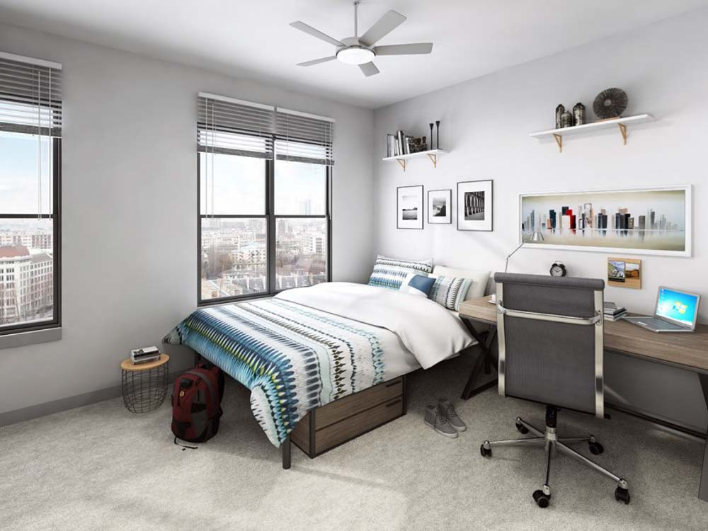 Theory-Syracuse-NY-Bedroom-With-Study-Desk-Unilodgers